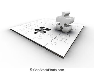 The final piece - 3D render of a puzzle with one piece...