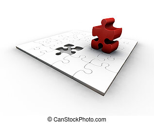 The final piece - 3D render of a puzzle with one red piece