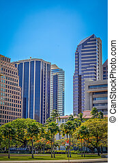 The Finance District Of Honolulu With Park And Copy Space