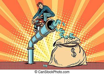 The financier sitting on cash tube. Pop art retro comic book...
