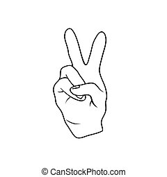 The fingers or hand signals mean peace. Vector