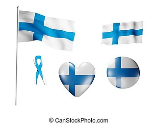 The Finland flag - set of icons and flags