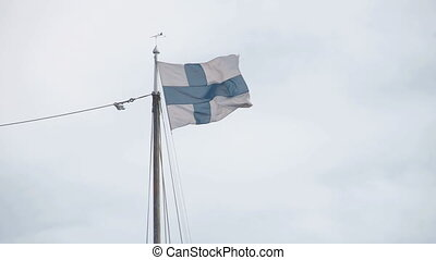 The Finnish flag on top of the pole
