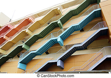 fire escape stairs - The fire escape stairs of the building