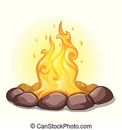 The fire surrounded with stones isolated on a white background. Vector cartoon close-up illustration.