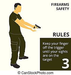 Vector illustration firearm shooting safety rules and signs. Will be perfect for logo, banner, poster, postcard.