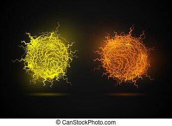The fireball - Ball of energy from lightning (Fireballs) on...