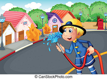 The fireman holding a hose rescuing a village on fire