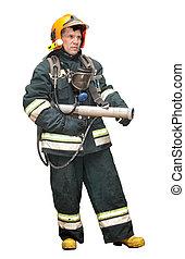 The fireman in gear against fire