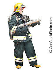 The fireman in regimentals on a white background
