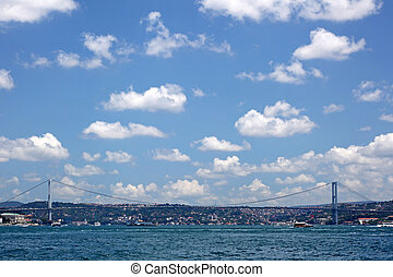 The First Bosporus Bridge connecting Europe and Asia...