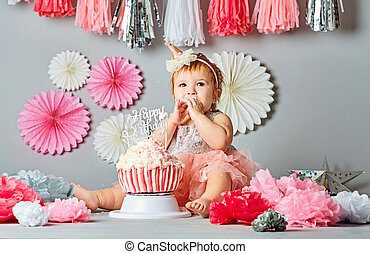 The first cake baby. Portrait of a baby