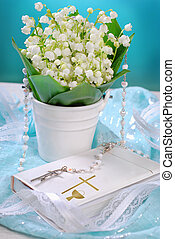 the first holy communion still life - bunch of fresh lily of...