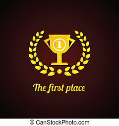 The first place. Gold Laurel Wreath and cup