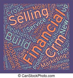 The First Rule of CRM for Financial Services text background wordcloud concept