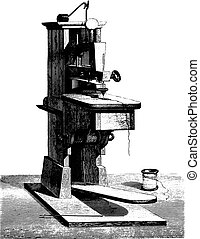The first sewing machine invented by Thimonnier given at the Conservatory of Arts and Crafts by the Chamber of Commerce Tarare, vintage engraving.