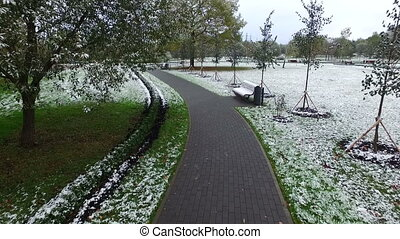 The first snow fell in the Park