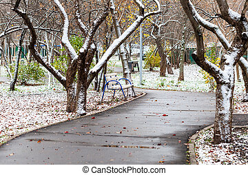 the first snow in city park on autumn day