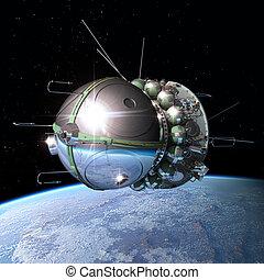 Spaceship Vostok1 at the Earth orbit