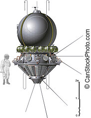 The first spaceship Vostok Available EPS-10 vector format...