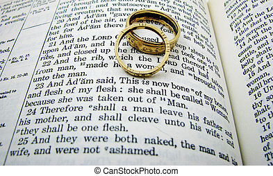 The first wedding vow in the book of Genesis with two wedding rings.