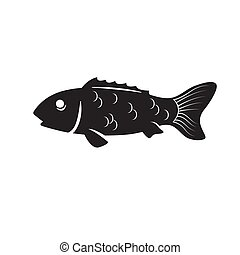 The fish icon is a black silhouette on a white isolated background. Vector image