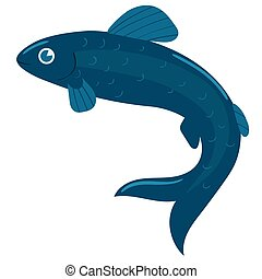The fish is blue. Vector graphics isolated on white background.