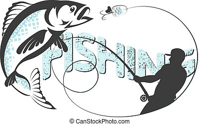 The fisherman is fishing vector