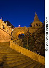 The Fisherman's Bastion Budapest Hungary at night