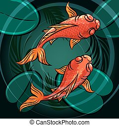 The Fishes - Pair of coi fishes in a pond drawn in cartoon...