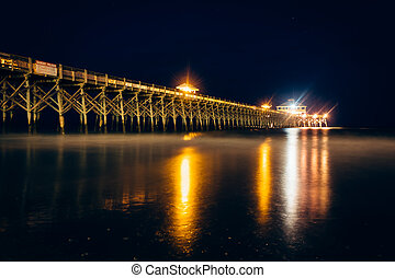 The fishing pier at night, in Folly Beach, South Carolina.