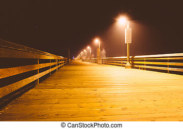 The fishing pier at night, in Imperial Beach, California.