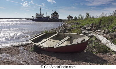 The fishing village on the bank of the North Sea, old boats...