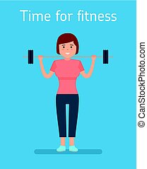 The fitness concept. girl smiling and holding a barbell training.