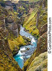The Fjadrargljufur canyon, Iceland