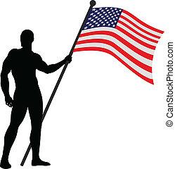 The Flag Bearer - Vector illustration of American flag...