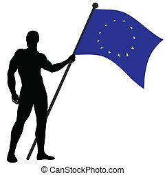 The Flag Bearer - Vector illustration of European Union flag...