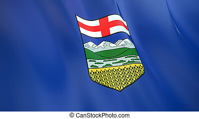 The flag of Alberta. Waving silk flag of Alberta. High quality render. 3D illustration