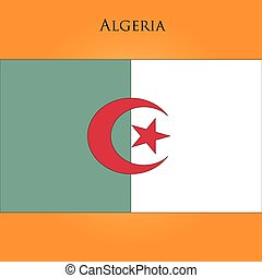 The flag of Algeria on a yellow