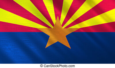 The flag of Arizona. Shining silk flag of Arizona. High quality render. 3D illustration