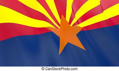 The flag of Arizona. Waving silk flag of Arizona. High quality render. 3D illustration