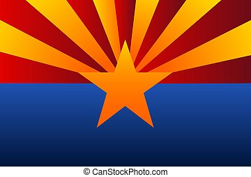 The flag of Arizona with gradient colors. Template for background, banner, card, poster. Vector EPS10 illustration.