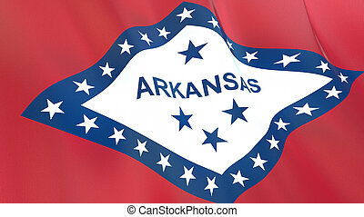 The flag of Arkansas. Waving silk flag of Arkansas. High quality render. 3D illustration