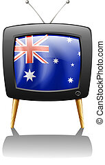 The flag of Australia inside a television - Illustration of...