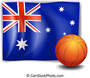 The flag of Australia with a ball - Illustration of the flag...