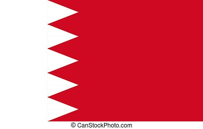 The Flag of Bahrain. National symbol of the state. Vector illustration.