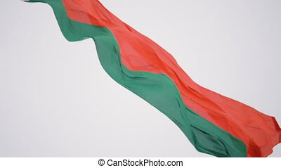 The flag of Belarus flutters in the wind - slowmotion 180 fps