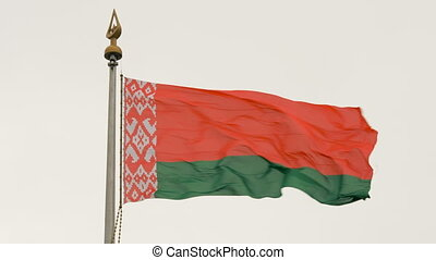 The flag of Belarus flutters in the wind