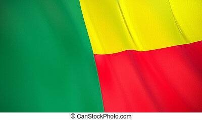 The flag of Benin. Waving silk flag of Benin. High quality render. 3D illustration