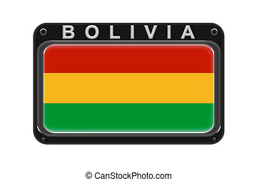 The flag of Bolivia in the frame with rivets on white background